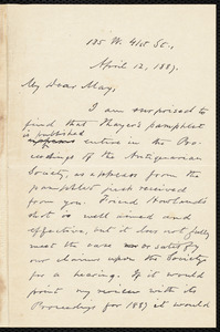 Letter from Oliver Johnson, [New York], to Samuel May, April 12, 1887