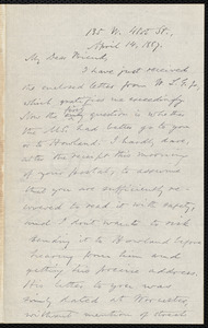 Letter from Oliver Johnson, [New York], to Samuel May, April 14, 1887