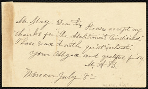 Letter to Samuel May, Warren, [Mass.], July 8, [1887]
