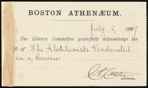 Postal card from Charles Ammi Cutter, Boston, to Samuel May, July 8, 1887