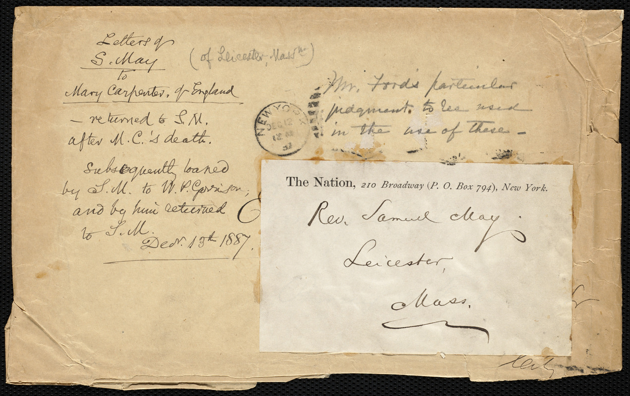 Envelope from Samuel May, [Leicester, Mass.?], Dec. 13th, 1887