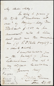 Letter from James Miller M'Kim, to Samuel May, Jan. 29th, [1862?]