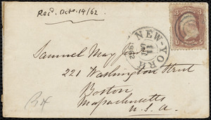 Letter from Eliza Wigham, Fore Rock, Stillorgan, [Ireland], to Samuel May, 21st of 9th mo., 1862