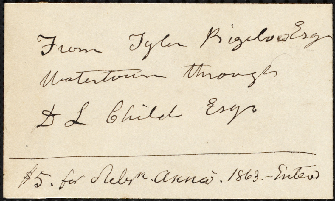Contribution envelope from Tyler Bigelow, Watertown, [Mass.], to the American Anti-Slavery Society, 1863