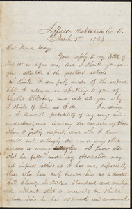 Letter from Charles Stockman Spooner Griffing, Jefferson, Ashtabula Co, Ohio, to Samuel May, March 1st, 1863