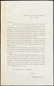 Circular letter from Samuel May, Boston, Dec. 26, 1863