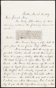 Letter from William Lloyd Garrison, Boston, to Samuel May, March 18, 1859
