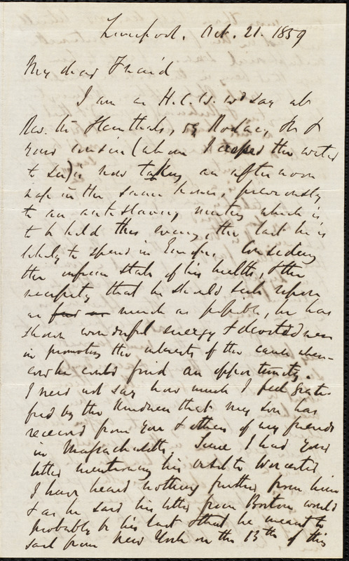 Letter from Richard Davis Webb, Liverpool, to Samuel May, Oct. 21, 1859
