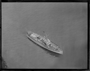 Aerial view of CG-190, chasing rum, Boston Harbor