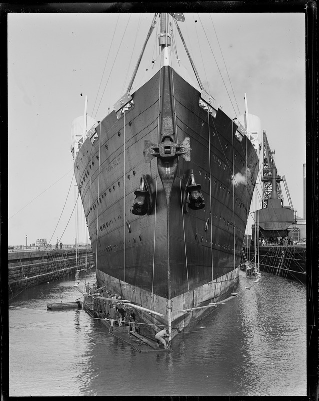Big liner Leviathan being scraped and painted in South Boston drydock
