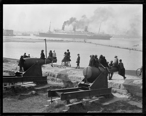 USS Leviathan from Castle Island, Fort Independence, backing out of dry dock