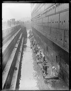 SS Leviathan in South Boston drydock after damaging 4 propellers