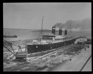 SS Leviathan in drydock from army base roof