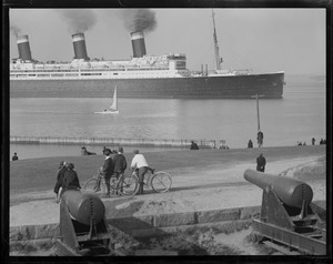 SS Leviathan from Castle Island showing three modes of travel - liner, sail and bicycle