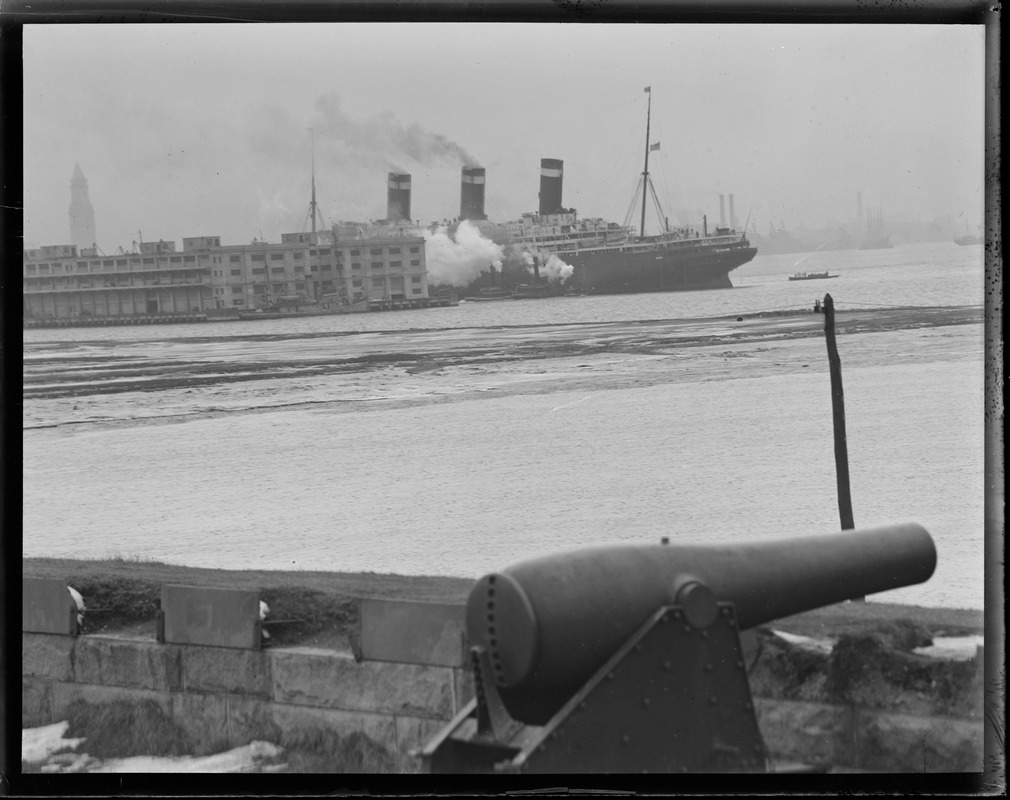 SS Leviathan going into dry dock from Fort Independence, Castle Island, Boston