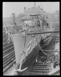 Destroyer McFarland in drydock after being nearly cut in half by battleship