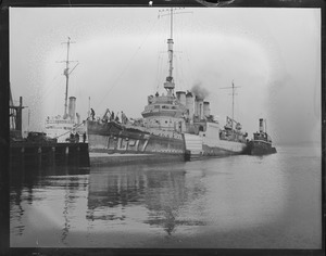 Coast Guard Destroyer USS Herndon in Navy Yard after she was hit by the SS Lemuel Burrows of Boston off Montauk Point, L.I. 4:50pm