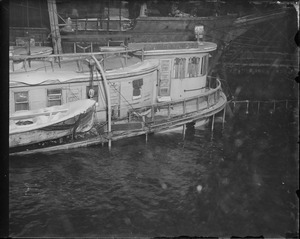 Sunken Boat at dock, city of Bangor