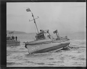 CG-171 fast aground on Deer Island bar, Boston Harbor