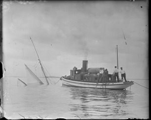 Fishing schooner sinks after crash with steamer in Boston Harbor. Police boat 'Watchman' nearby.