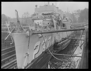 Destroyer McFarland after ramming by battleship off cape cod canal