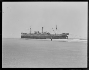 British steamer Competitor high and dry near Naucet, Chatham, Cape Cod