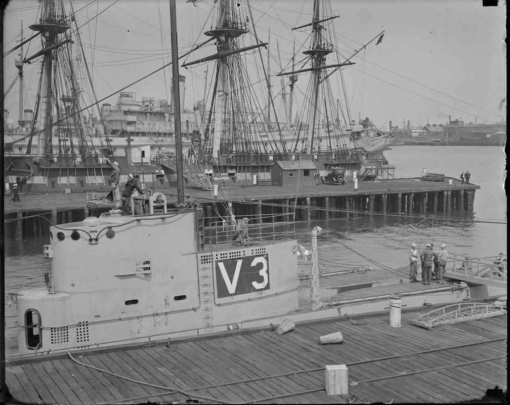 Sub V-3 in Boston Navy Yard, Old Ironsides in rear