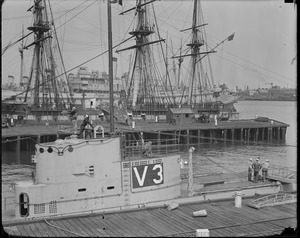 Sub V-3 in Navy Yard - Sailing ship in background