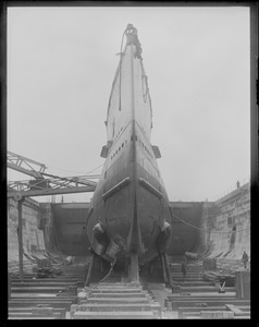 Bow view of ill-fated sub S-4 in drydock