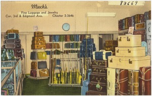 Much's, fine luggage and jewelry, cor. 3rd & Edgmont Ave., Chester