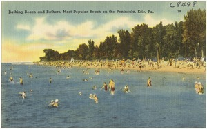 Bathing Beach and bathers, most popular beach on the Peninsula, Erie, Pa.