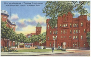 View showing Armory, Women's Club Building and North High School, Worcester, Mass.