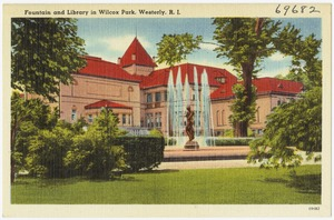 Fountain at library in Wilcox Park, Westerly, R.I.
