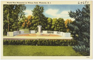 World War Memorial in Wilcox Park, Westerly, R.I.