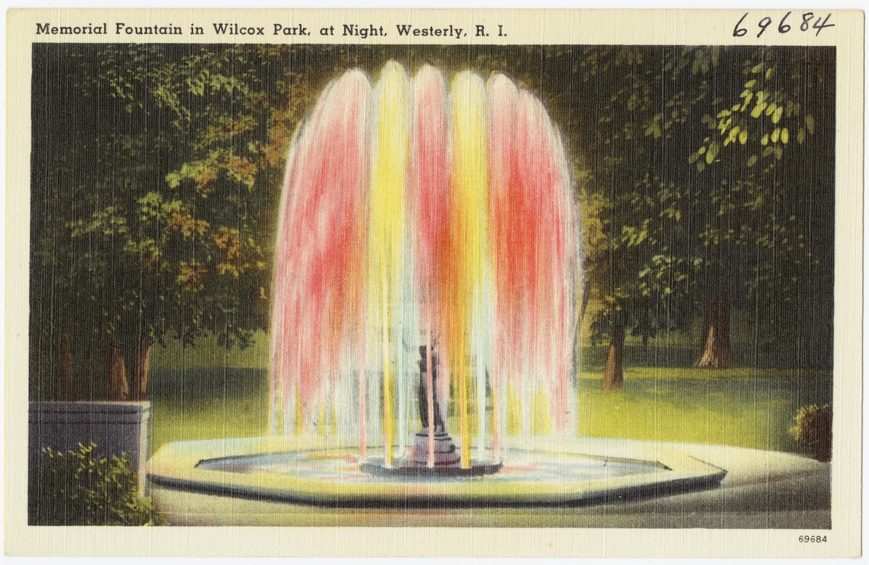 Memorial Fountain in Wilcox Park, at night, Westerly, R.I.
