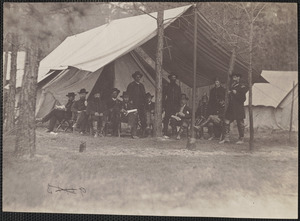 From left to right [persons named:] Generals Rawlins, General Grant, Colonel Parker, General Barnard