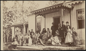 General S. O. Heintzelman and others at Convalescent Camp Alexandria Virginia, group of ladies and officers