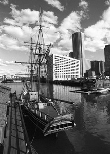 HMS Beaver moored near South Station, downtown Boston