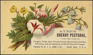 Ayer's Cherry Pectoral, for the cure of coughs, colds, sore throat, croup, bronchitis, asthma, influenza, and all diseases of the throat and lungs.
