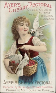 Ayer's Cherry Pectoral for cold, coughs and all throat and lung diseases.
