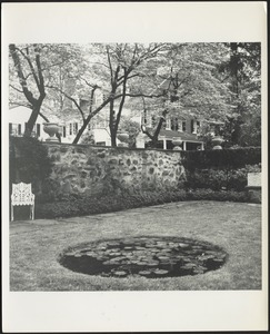 Ashdale Farm. Rose garden; reflecting pool with lily pads; white cast iron chair on left