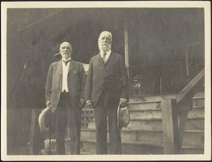 Thomas Jefferson Coolidge and Joseph Randolph Coolidge standing in front of porch steps