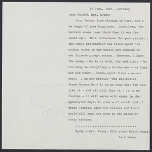Herbert Brutus Ehrmann Papers, 1906-1970. Sacco-Vanzetti. Bartolomeo Vanzetti. Autograph Letters Signed to Mrs. Elizabeth Glendower Evans, 1920-1927. Box 16, Folder 19, Harvard Law School Library, Historical & Special Collections