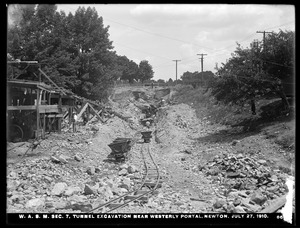 Distribution Department, Weston Aqueduct Supply Mains, Section 7, tunnel excavation near westerly portal, Newton, Mass., Jul. 27, 1910