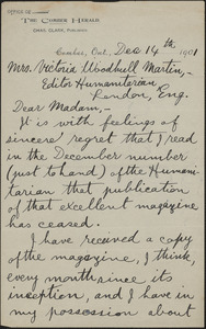 Charles Clark autograph letter signed to Victoria Woodhull Martin, Comber, Ont., December 14, 1901