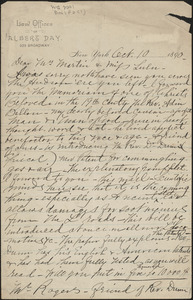 Albert Day autograph letter signed to [Victoria Woodhull] Martin and [Zula Maud Woodhull], New York, October 10, 1890