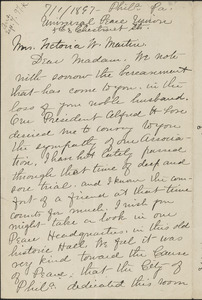 Amanda Deyo autograph letter signed to Victoria Woodhull Martin, Philadelphia, July 1, 1897