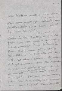 Agnes Kemp autograph letter signed to [Victoria Woodhull] Martin, Swarthmore, Pa., July 30, 1903