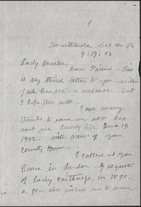 Agnes Kemp autograph letter signed to [Victoria Woodhull] Martin, Swarthmore, Pa., September 17, 1903
