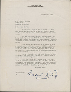 Basil King typed letter signed to [Victoria] Woodhull Martin, Cambridge, Mass., November 30, 1925
